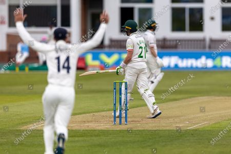 WICKET - Sam Evans is caught down the leg side during Day 2 of the LV= Insurance County Championship match between Leicestershire County Cricket Club and Middlesex County Cricket Club at the Uptonsteel County Ground, Leicester