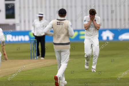 WICKET - Martin Andersson looks in shock after taking the wicket of Sam Evans during Day 2 of the LV= Insurance County Championship match between Leicestershire County Cricket Club and Middlesex County Cricket Club at the Uptonsteel County Ground, Leicester