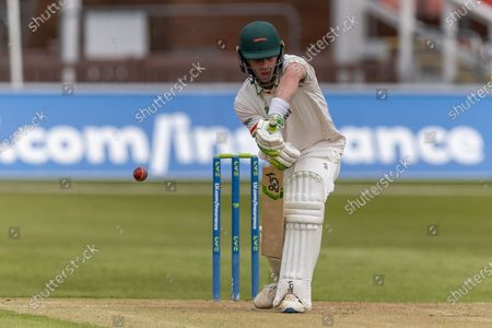 Sam Evans batting during Day 2 of the LV= Insurance County Championship match between Leicestershire County Cricket Club and Middlesex County Cricket Club at the Uptonsteel County Ground, Leicester