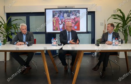 Brussels South Charleroi Airport CEO Philippe Verdonck, Walloon Ministre Jean-Luc Crucke and Former Walloon Minister President Paul Magnette pictured during a press conference at Brussels South Charleroi Airport in Gosselies, Charleroi, Friday 28 May 2021.