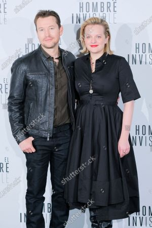 Leigh Whannell (L) and Elisabeth Moss attend 'El Hombre Invisible' photocall at Villamagna Hotel on February 19, 2020 in Madrid, Spain.