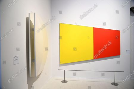 The artwork 'Yellow / Red' by Ellsworth Kelly is on display in the exhibition 'American Art 1961-2001. The Walker Arts Center Collections. From Andy Warhol to Kara Walker' at Palazzo Strozzi in Florence, Italy, 28 May 2021. The exhibition runs until 29 August.