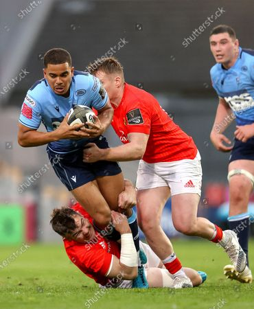 Munster vs Cardiff Blues. Munster's Peter O'Mahony tackles Ben Thomas of Cardiff