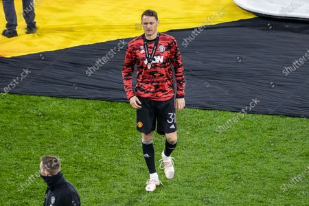 Nemanja Matic of Manchester United seen with silver medal during the UEFA Europa League Final 2021 match cup awarding ceremony  between Villarreal CF and Manchester United at Gdansk Arena. Final score: Villarreal 1-1 Manchester United (Villarreal 11:10 Manchester United on penalties)