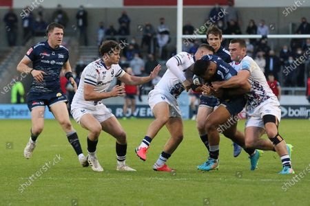 Sale Sharks Manu Tuilagi during the Gallagher Premiership Rugby match between Sale Sharks and Bristol Rugby at the AJ Bell Stadium, Eccles