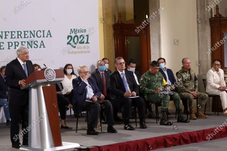 Mexico's President Andres Manuel Lopez Obrador accompanied by Health Minister Jorge Alcocer, Foreign Affairs Marcelo Ebrard,  Luis Cresencio Sandoval Secretary of National Defense, Secretary of the Navy of Mexico Rafael Ojeda Duran, Secretary of Security and Citizen Protection Rosa Icela Rodriguez Vazquez   during  daily briefing, at National Palace on May 28, 2021 in Mexico City, Mexico.