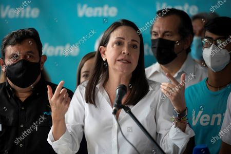Venezuelan opposition member Maria Corina Machado speaks during a press conference in Caracas, Venezuela, 28 May 2021. Machado said on 28 May that she will only be part of a political negotiation for the 'liberation' of Venezuela from the government of Nicolas Maduro, which she considers a 'criminal conglomerate.' Machado said at a press conference that she is not clear about the terms that Guaido is proposing and that for this reason she cannot establish a 'blunt' position.