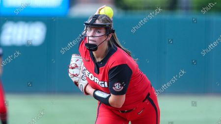 Stock Picture of Georgia starting pitcher Mary Wilson Avant (5) throws a pitch during an NCAA softball game against Florida on in Gainesville, Fla