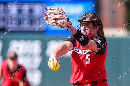 Georgia starting pitcher Mary Wilson Avant (5) during an NCAA softball game against Florida on in Gainesville, Fla