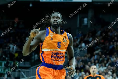 Maurice Ndour of Valencia Basket during the 2019/2020 Turkish Airlines EuroLeague Regular Season Round 12 match between Real Madrid and Valencia Basket at Wizink Center on December 05, 2019 in Madrid, Spain.