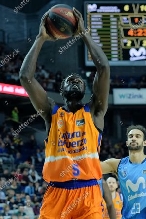 Maurice Ndour of Valencia Basket  during the Spanish League, Liga ACB, basketball match, Regular Season, played between Movistar Estudiantes  and Valencia Basket  at Wizink Center on February 9, 2020 in Madrid, Spain.