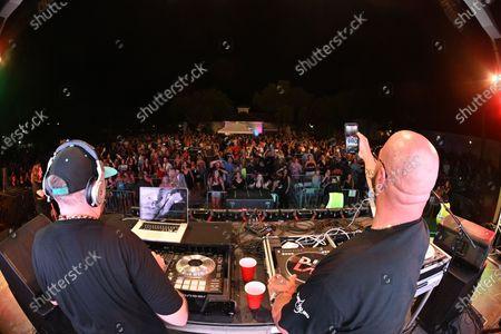 Stock Image of DJ Johnny Quest and DJ Laz perform