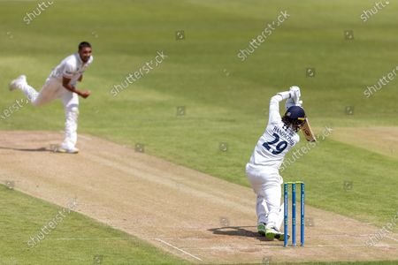 Peter Handscomb drives Ben Mike for 4 during Day 3 of the LV= Insurance County Championship match between Leicestershire County Cricket Club and Middlesex County Cricket Club at the Uptonsteel County Ground, Leicester