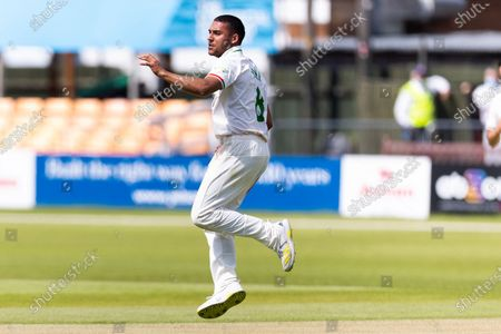 WICKET - Ben Mike celebrates having Peter Handscomb caught behind during Day 3 of the LV= Insurance County Championship match between Leicestershire County Cricket Club and Middlesex County Cricket Club at the Uptonsteel County Ground, Leicester