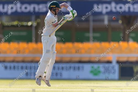 Sam Evans defends a short ball during Day 3 of the LV= Insurance County Championship match between Leicestershire County Cricket Club and Middlesex County Cricket Club at the Uptonsteel County Ground, Leicester