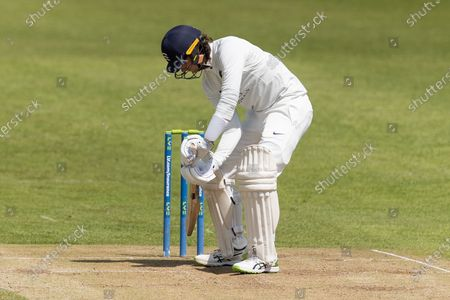Peter Handscomb prepares to take strike during Day 3 of the LV= Insurance County Championship match between Leicestershire County Cricket Club and Middlesex County Cricket Club at the Uptonsteel County Ground, Leicester