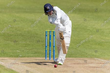 Peter Handscomb defends during Day 3 of the LV= Insurance County Championship match between Leicestershire County Cricket Club and Middlesex County Cricket Club at the Uptonsteel County Ground, Leicester