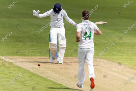 Peter Handscomb is tucked up by a ball from Will Davis during Day 3 of the LV= Insurance County Championship match between Leicestershire County Cricket Club and Middlesex County Cricket Club at the Uptonsteel County Ground, Leicester