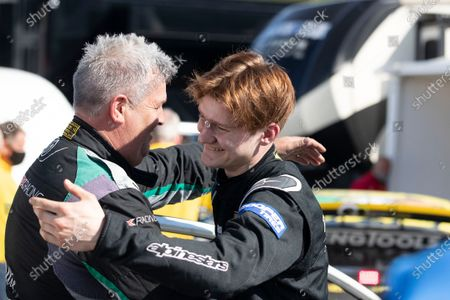 Ollie O'Donovan, Ford Fiesta, BRX Supercars quick to congratulate race winner Robert Vitols, Citreon C4, BRX Supercars during the 5 Nations BRX Championship at Lydden Hill Race Circuit on 29th May 2021