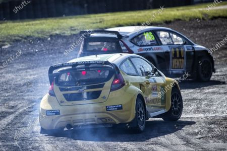 Ollie O'Donovan, Ford Fiesta, BRX Supercars chases eventual race winner Robert Vitols, Citreon C4, BRX Supercars into Paddock during the 5 Nations BRX Championship at Lydden Hill Race Circuit on 29th May 2021