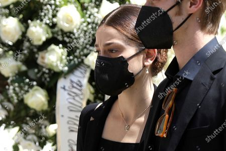 La Scala prima ballerina Antonella Albano arrives to attend the funeral of Carla Fracci, outside San Marco church, in Milan, Italy, . Carla Fracci, an Italian cultural icon and former La Scala prima ballerina renowned for romantic roles alongside such greats as Rudolf Nureyev and Mikhail Baryshnikov, died Thursday at her home in Milan. She was 84