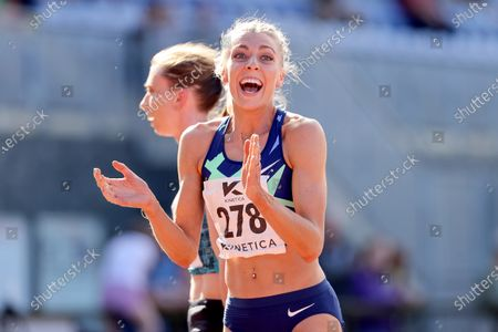 Women's 800m . Alexandra Bell of Pudsey and Bramley celebrates achieving the Olympic standard