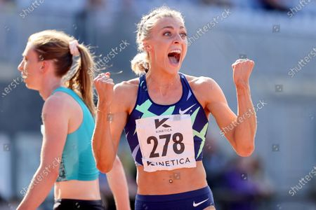 Stock Photo of Women's 800m . Alexandra Bell of Pudsey and Bramley celebrates achieving the Olympic standard