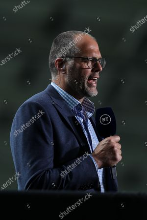 Stock Photo of Martin Bayfield commentates for BT Sport