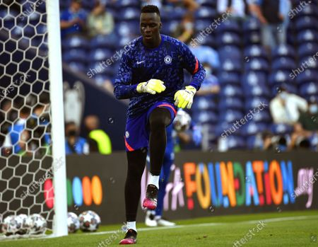 Chelsea's goalkeeper Edouard Mendy warms up for the UEFA Champions League final between Manchester City and Chelsea FC in Porto, Portugal, 29 May 2021.