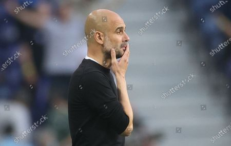 Stock Picture of Manager Josep Guardiola of Manchester City reacts during the UEFA Champions League final between Manchester City and Chelsea FC in Porto, Portugal, 29 May 2021.