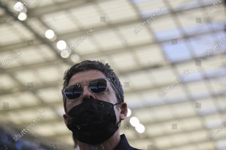 Noel Gallagher arrives prior to the start of the Champions League final soccer match between Manchester City and Chelsea at the Dragao Stadium in Porto, Portugal