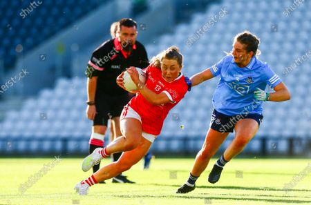 Stock Picture of Cork vs Dublin. Cork's Sadhbh O'Leary in action against Martha Byrne of Dublin