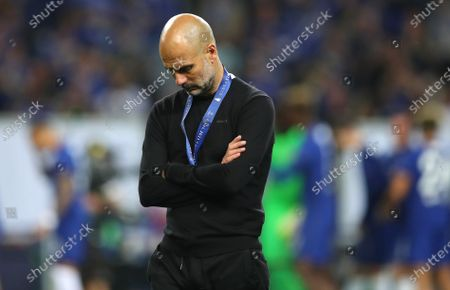 Manchester City manager Pep Guardiola reacts after the UEFA Champions League final between Manchester City and Chelsea FC in Porto, Portugal, 29 May 2021.