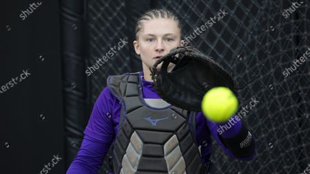 James Madison catcher Lauren Bernett during a NCAA softball game on in Columbia, Mo