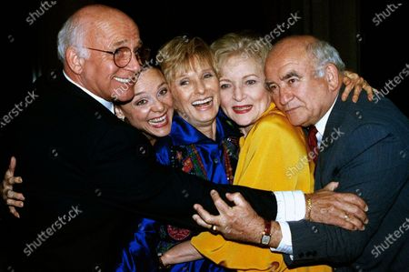 Stock Picture of Former cast members of the Mary Tyler Moore Show, sans Mary Tyler Moore, are reunited for the Museum of Television and Radio's 9th annual Television Festival in Los Angeles on March 21, 1992. From left are Gavin MacLeod, Valerie Harper, Cloris Leachman, Betty White and Ed Asner. Gavin MacLeod has died. His nephew told the trade paper Variety that MacLeod died early
