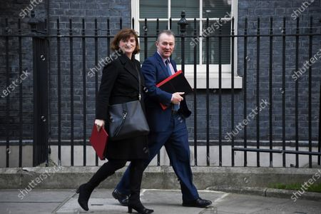 Britain's Culture Secretary Nicky Morgan (L) and Wales Secretary Simon Hart leave after attending the weekly Cabinet meeting at 10 Downing Street, London on February 6, 2019.