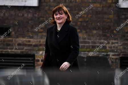 Media and Culture Secretary Nicky Morgan, arrives at Downing Street in London on February 11, 2020. Mr Johnson was set Tuesday to announce his plans for the HS2 high-speed railway, with reports suggesting he will stick with the long-running project despite soaring costs