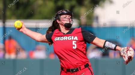 Stock Photo of Georgia starting pitcher Mary Wilson Avant (5) during an NCAA softball game against Florida on in Gainesville, Fla