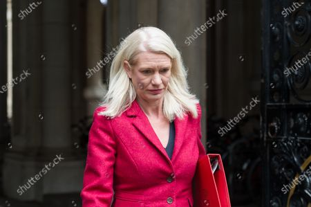 Conservative Party Chairman and Minister without Portfolio Amanda Milling returns to Downing Street in central London after attending weekly Cabinet meeting at the Foreign Office on 13 October, 2020 in London, England.