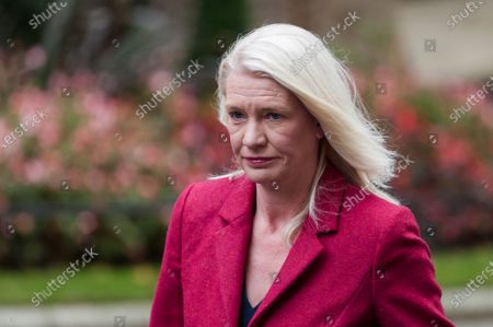 Conservative Party Chairman and Minister without Portfolio Amanda Milling arrives in Downing Street in central London to attend Cabinet meeting held at the Foreign Office on 13 October, 2020 in London, England.