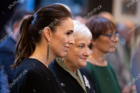 New Zealand Prime Minister Jacinda Ardern (L) waits for the arrival of Australian Prime Minister Scott Morrison, during the Powhiri (traditional Maori greeting) at the annual Australia-New Zealand Leaders' Meeting at the annual Australia-New Zealand Leaders' Meeting at the Rees Hotel in Queenstown, New Zealand, 30 May 2021.