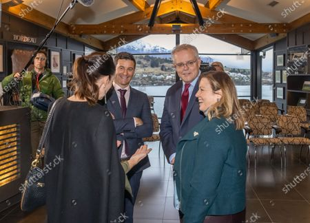 Australian Prime Minister Scott Morrison and wife Jenny Morrison (R) chat to New Zealand Prime Minister Jacinda Ardern (L) and her partner Clarke Gayford after the Powhiri (traditional Maori greeting) at the annual Australia-New Zealand Leaders' Meeting at the annual Australia-New Zealand Leaders' Meeting at the Rees Hotel in Queenstown, New Zealand, 30 May 2021.