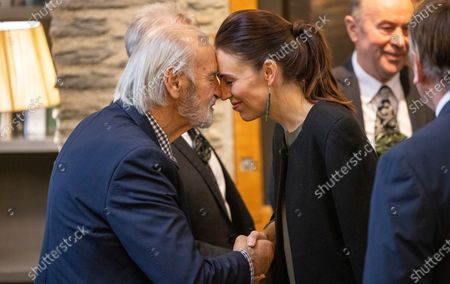 New Zealand Prime Minister Jacinda Ardern hongis with a member of the Ngai Tahu (South Island Maori) representation during the Powhiri (traditional Maori greeting) at the annual Australia-New Zealand Leaders' Meeting at the Rees Hotel in Queenstown, New Zealand, 30 May 2021.