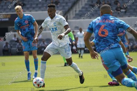 Los Angeles FC midfielder Mark-Anthony Kaye (14) controls the ball during an MLS soccer game against the New York City FC, in Los Angeles