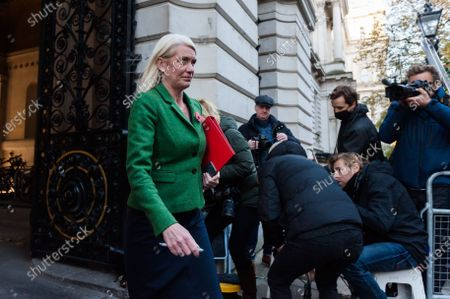 Conservative Party Chairman and Minister without Portfolio Amanda Milling leaves Downing Street in central London after attending weekly Cabinet meeting temporarily held at the Foreign Office on 03 November, 2020 in London, England.