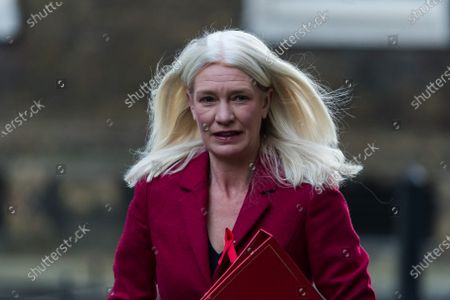 Conservative Party Chairman and Minister without Portfolio Amanda Milling arrives in Downing Street in central London to attend Cabinet meeting held at the Foreign Office on 01 December, 2020 in London, England. Today MPs in the House of Commons will vote on the new tiered Coronavirus restrictions as the four week lockdown across England comes to an end.