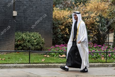 Sheikh Mohammed bin Zayed Al Nahyan, the Crown Prince of the Emirate of Abu Dhabi and Deputy Supreme Commander of the United Arab Emirates Armed Forces, arrives in Downing Street for bilateral talks with British Prime Minister Boris Johnson, on 10 December, 2020 in London, England.