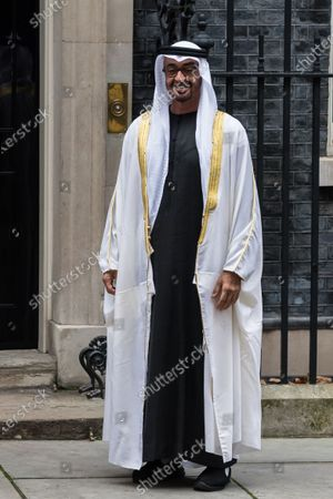 Stock Photo of Sheikh Mohammed bin Zayed Al Nahyan, the Crown Prince of the Emirate of Abu Dhabi and Deputy Supreme Commander of the United Arab Emirates Armed Forces, stands outside 10 Downing Street ahead of bilateral talks with British Prime Minister Boris Johnson, on 10 December, 2020 in London, England.