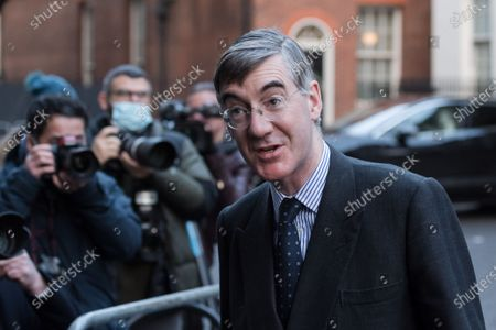Stock Photo of Lord President of the Council and Leader of the House of Commons Jacob Rees-Mogg arrives in Downing Street in central London to attend Cabinet meeting held at the Foreign Office on 15 December, 2020 in London, England. The UK and EU leaders have agreed to carry on post-Brexit trade talks and vowed to go 'extra mile' to try and reach a deal, with less than three weeks until the end of the transition period.