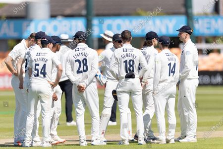 WICKET - \Middlesex team mates congratulate Tom Helm on the wicket of Sam Evans during the final day of the LV= Insurance County Championship match between Leicestershire County Cricket Club and Middlesex County Cricket Club at the Uptonsteel County Ground, Leicester